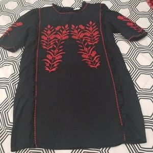 Zara Navy Blue Dress with Red Embroidery